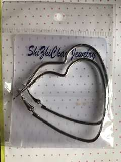 Heart Shape Silver Earings/ Anting Hati