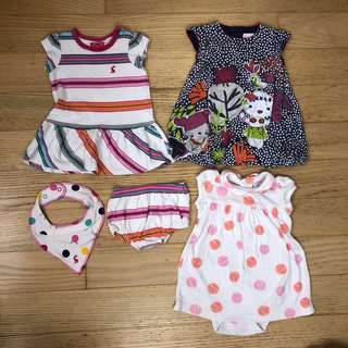 Baby girl clothes bundle 3-6 months (dresses, onesies)