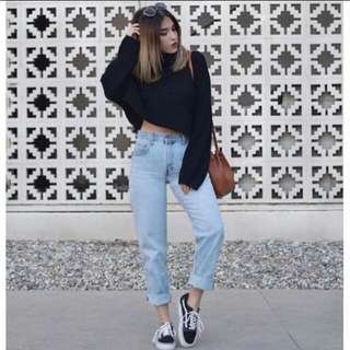 Celana Boyfriend Plain (Jeans) biru muda
