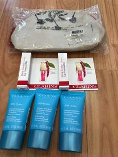 Clarins Samples- refreshing hydration masks, lip comfort oil