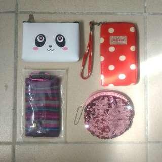 TAKE ALL wallets/pouches (panda, cath kidston, Case Logic, Mermaid)