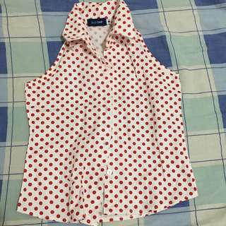 White and Red Polka Dot Top