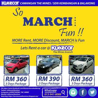 Kereta Sewa Promosi Mac Daily Car Rental Package