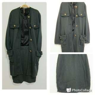 針織長版外套+窄裙兩件式套裝