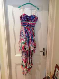 GASP asymmetrical/fringe rainbow dress