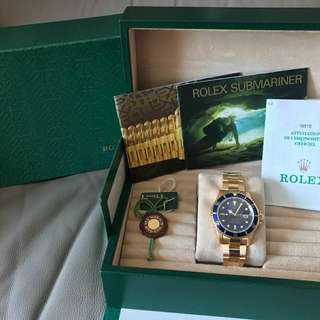 Rolex 全金 Submariner 16618LB Full set