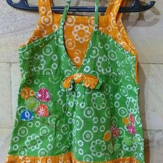 Dress Baby Batik Hijau & Orange