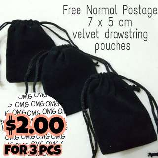 📮Free NORMAL postage 💯Brand NEW Mini Black Velvet Draw String Pouch