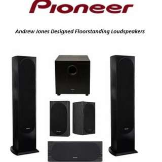Complete high end Pioneer entertainment setup. (AV, Blu-Ray, Speakers and stands)