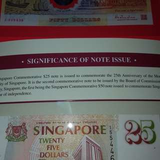 $50-1990 polymer commerative note unc with folder/$25-commerative note unc with folder (2set-$160)