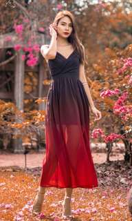 MGP ALIVIA OMBRE MAXI DRESS IN RED