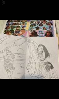 Instock moana Coloring And Stickers Book Brand New A5-$3 A4 -$4