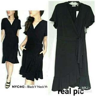 MK V neck ruffle dress