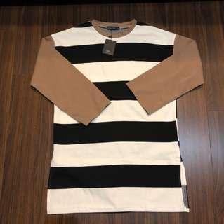 QS條紋撞色袖長版上衣