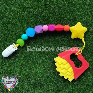 Handmade Rainbow beads Pacifier Clip + Fries teether combo