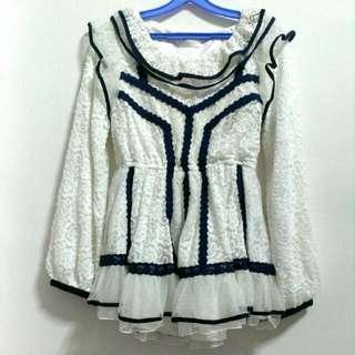 ❄SALE❄BNWT Liz Lisa Navy & White Long Sleeve Lace Top