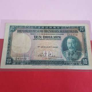 $10-gv of straits settlements 1935 condition original vf.2 minor pinholes.
