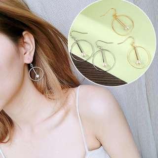 Korean Fashion Round Pearl Dangle Earrings