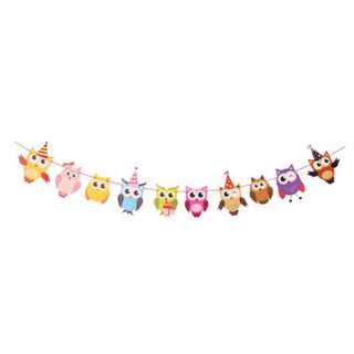 (In Stock)Owl design Happy Birthday Banner/Bunting
