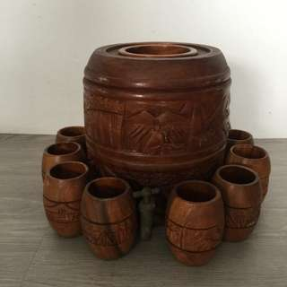 Beautiful Wooden Antique water Storage Tank and 12 cups with carving