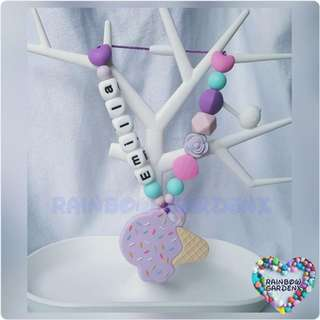 Lilac ice cream Teether with customised name + beads carrier accessory