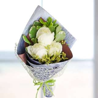[FREE DELIVERY] White Roses Hand-bouquet (955-WR)