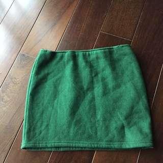 🚚 綠色毛呢短裙