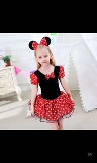 PO Minnie Mouse dress party/birthday set brand new size 2-7yrs old *include headband