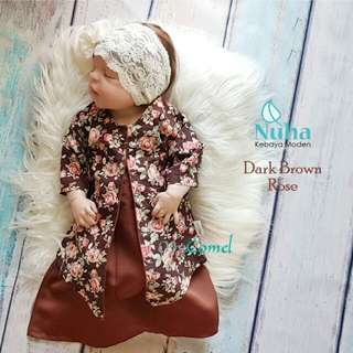 BAJU KEBAYA DARK BROWN ROSE #Baby30