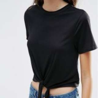 Cropped Tie Knot Black Top (REPRICED)