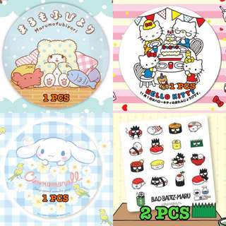 Last SET LEFT Bad Badtz Maru Cinnamoroll Hello Kitty marumofubiyori Big Round Stickers