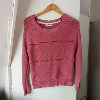 Pink knit pullover