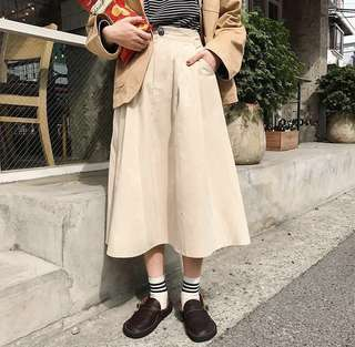 vintage beige button skirt