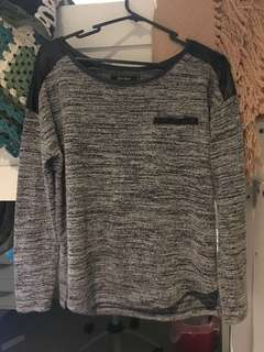 Gray Marl Long Sleeve Knitted Top