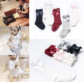 [PRE-ORDER] BABY GIRLS SOCKS KNEE HIGH WITH BOWS CUTE BABY SOCKS LONG TUBE KIDS LEG WARMERS
