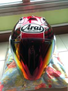 Arai ram 4 taira red with cert and card.
