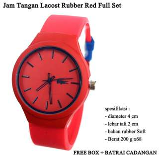 jam Wanita Lacost rubber red