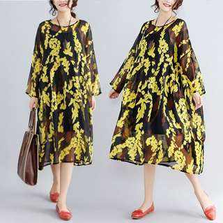 YM004 雪紡料印花圖案連身裙
