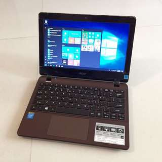 "99% Super New Metallic Brown Lightweight slim Acer 11.6"" N2830 4G ram 500G HDD HDMI Windows 10 Microsoft office (6 hour battery Great for Skype, Video chatting, Facebook, Internet...)"