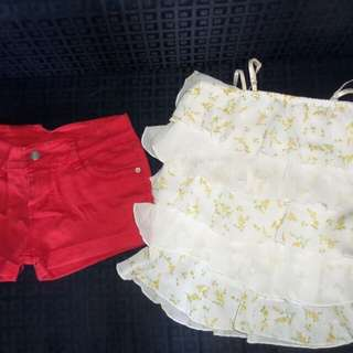 Bundle flowy floral top & red sexy shorts