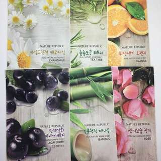 Nature Republic Face Masks (3 for 100)