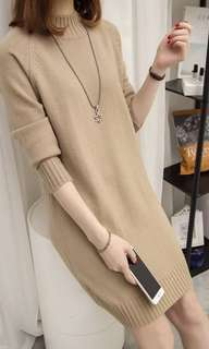 Sweater dress in Coffee / Green colour