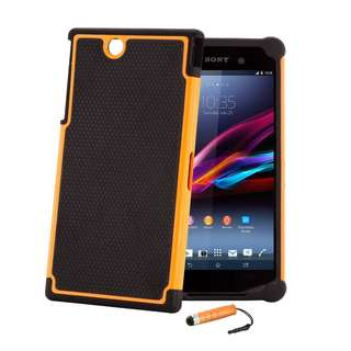32nd Shock proof defender heavy duty dual case cover for Sony Xperia Z Ultra (XL39H), including screen protector, cleaning cloth and touch stylus - Orange