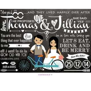 ♥Personalised Chalk board for Wedding Reception / Photoshoot♥