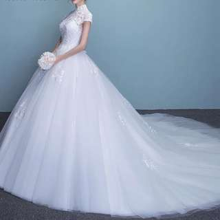 Wedding Gown white Long train for sale