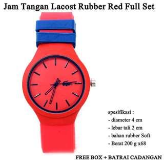 jam tangan murah Lacost rubber red