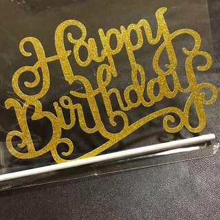 INSTOCKS! Happy birthday calligraphy cake Topper in Gold