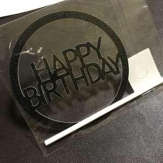 INSTOCKS! Happy Birthday round Cake Topper in Black