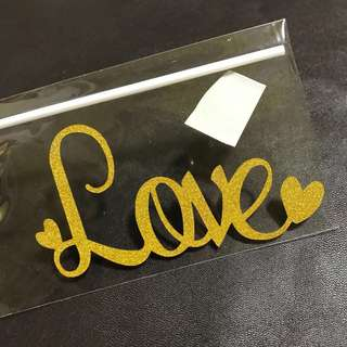 INSTOCKS! Curvy Love Words Cake Topper in Gold