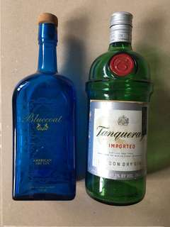 Empty American Dry Gin & Tanqueray Gin Bottles